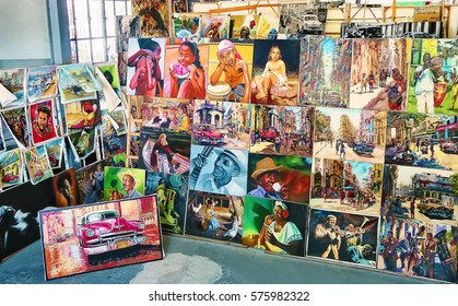 Cuba, Havana - 07 April, 2016: stalls with paintings and pictures, reproductions of Cuban life, located in one of the indoor markets in Havana, a real splash of color and subjects