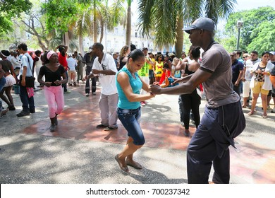 Cuba, Havana - 07 April, 2016: street dances of salsa in one of the central squares in Havana, where both the locals and the tourists can take the dancefloor and dance till they drop, a fun event