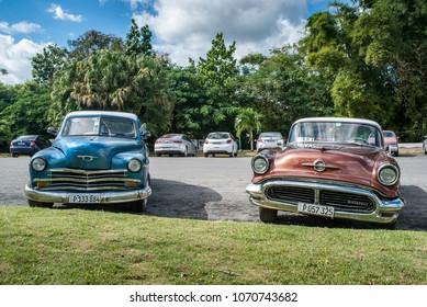 CUBA, HAVANA, 2018; Old vintage Cars parked in Cuba. Popular car in Cuba