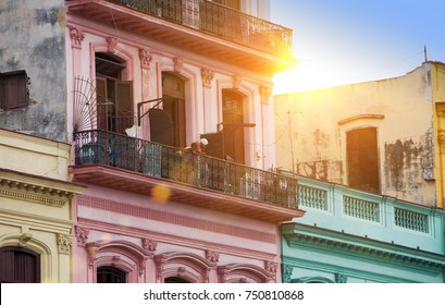 Cuba. Havana. Bright old balconies in the old city.