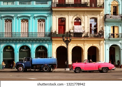 Cuba, Havana - January 16, 2019: Old American pink  car in the old city of Havana.