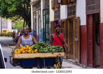 Cuba, Havana, March 2018. Cuban selling fruits on the street