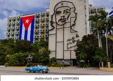 Cuba, Havana, March 2018. La plaza de la revolucion with Che Guevara