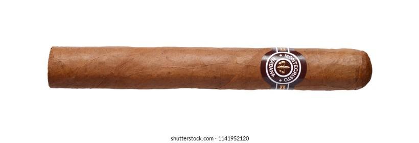 Cuba, Havana March 26, 2018:  Cuban cigar Montecristo No.4.