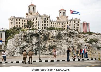 CUBA, Havana MAY 6, 2016. Hotel Nacional of Havana. Cuban Flag.