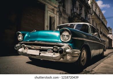 CUBA, HAVANA - NOVEMBER 05,2017: Vintage cars parking on the old street Havana