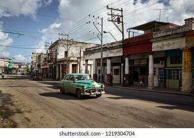 CUBA, HAVANA - NOVEMBER 14,2017: Vintage american car on the old street of Havana