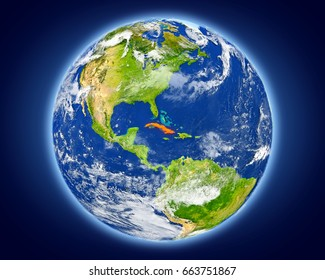Cuba highlighted in red on planet Earth. 3D illustration with detailed planet surface. Elements of this image furnished by NASA.