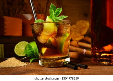 Cuba Libre Cocktail with Cigars
