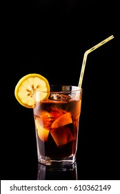 Cuba libre, exotic long drink based on cola, lime and rum