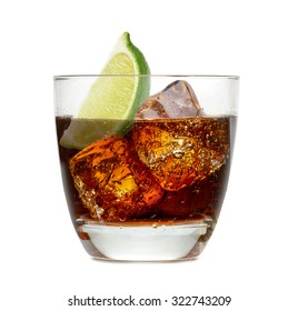 Cuba libre or vodka and cola with lime wedge isolated on white background