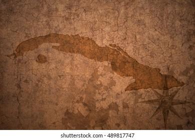 cuba map on a old vintage crack paper background