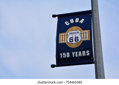 Cuba, Missouri - July 18, 2017: Sign of the celebration of the 150th anniversary of the founding of the city. Cuba was platted in 1857 when it was certain the railroad would be extended to that point.