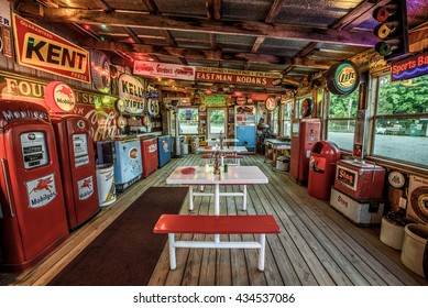 CUBA, MISSOURI, USA - MAY 11, 2016 : Interior of Bob's Gasoline Alley on historic Route 66. It is is a collection of over 300 service station signs and other vintage advertisements. HDR processed