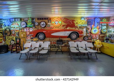 CUBA, MISSOURI, USA - MAY 11, 2016 : Interior of Bob's Gasoline Alley on historic Route 66. It is is a collection of over 300 service station signs and other vintage advertisements. HDR processed.