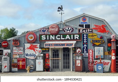 Cuba, MO, USA - Oct. 3, 2019: A collection of antique gas station memorabilia on display at Bob's Gasoline Alley, off Route 66 near Cuba, Missouri. The roadside attraction closed in 2020.