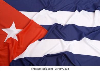 Cuba national flag as a background, pleated