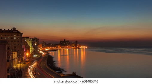 Cuba. Night Havana, The city of Havana at night, Havana Night Reflection, Cuba, Old Havana