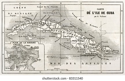 Cuba old map with Havana insert plan. Created by Vuillemin and Erhard, published on Le Tour du Monde, Paris, 1860