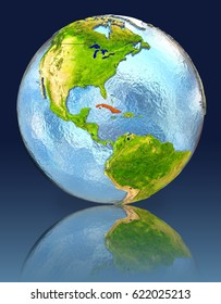Cuba on globe with reflection. Illustration with detailed planet surface. Elements of this image furnished by NASA.