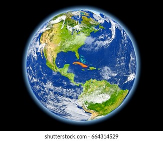 Cuba on planet Earth. 3D illustration with detailed planet surface. Elements of this image furnished by NASA.