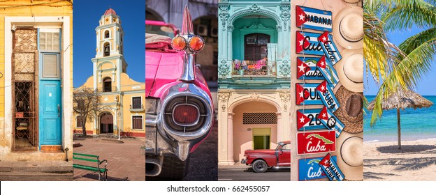 Cuba, panoramic photo collage, Cuban symbols, Cuba travel and tourism concept