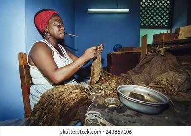 CUBA, Pinar Del Rio, cuban woman working in a cigars factory - FILM SCAN