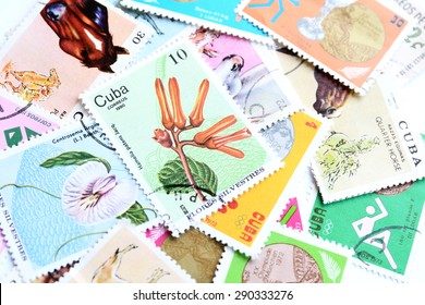 Cuba postage stamps from different times