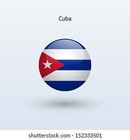 Cuba round flag on gray background. See also vector version.