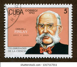 Cuba stamp circa 1993: a stamp printed in Cuba shows Cuban doctor, scientist, pioneer of yellow fever research : Carlos Finlay Portrait illustration.