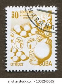 Cuba stamp no circa date: A stamp printed in Cuba shows Cuba exports fruit - citrus.