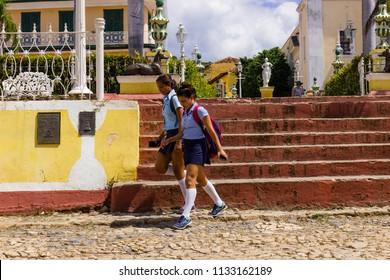 Cuba, Trinidad, March 2018. Cuban schoolchild wearing school uniform