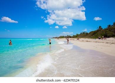 CUBA. VARADERO. APRIL, 2017: Beautiful Varadero beach.