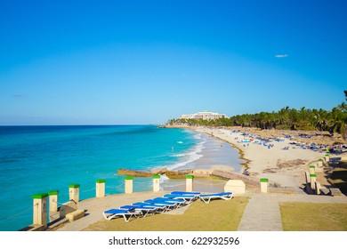CUBA. VARADERO. APRIL, 2017: Dupont Point. Beautiful Varadero beach.