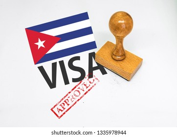 Cuba Visa Approved with Rubber Stamp and fla