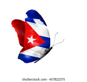Cuba watercolor flag butterfly, isolated on white