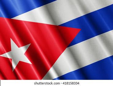 Cuba waving flag close
