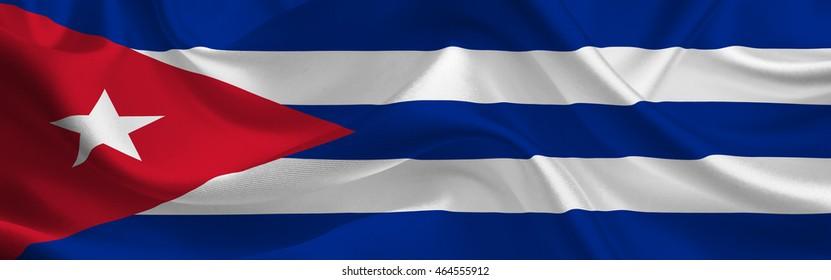 Cuba waving flag wide format