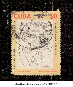 CUBA-CIRCA 1974:A stamp printed in Cuba shows image of F.Joliot Curie, series, circa 1974
