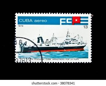CUBA-CIRCA 1978: A stamp printed in CUBA shows the ship of the Cuban marine sea fleet, circa 1978. Series