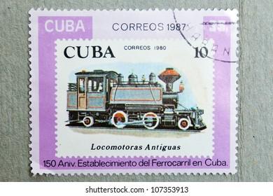 CUBA-CIRCA 1987: stamp printed CUBA, shows 150 Anniv. Establishment of the Railway in Cuba, CIRCA 1987
