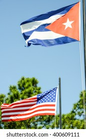 Cuban and American national flag