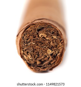 Cuban cigar closeup isolated over white background.