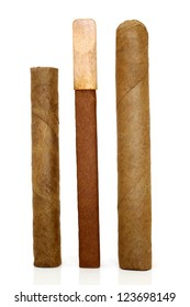 Cuban cigars on a white background
