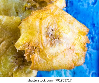 Cuban cuisine: deep-fried green banana. The snack is part of the traditional Creole cuisine in the Caribbean island