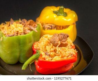 Cuban Cuisine: Stuffed Bell Peppers with  rice and pork meat