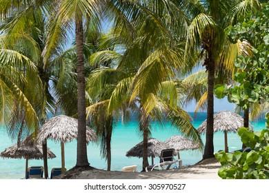 Cuban dream beach in Varadero with sunlounger