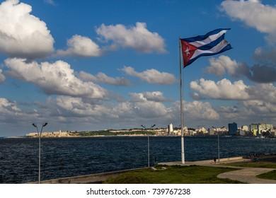 Cuban flag over El Malecon promenade, Havana