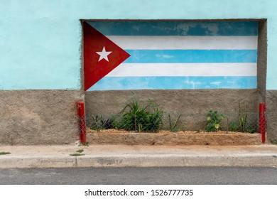 Cuban flag painted on a wall in Matanzas, Cuba (September 2019)