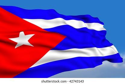 Cuban flag waving on wind